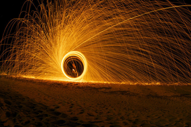 Wire Wool On Field At Night