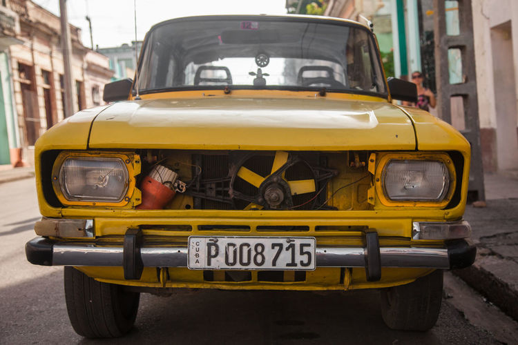 View of yellow truck