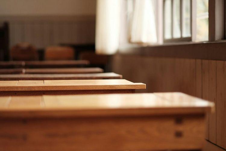 Wooden benches in school