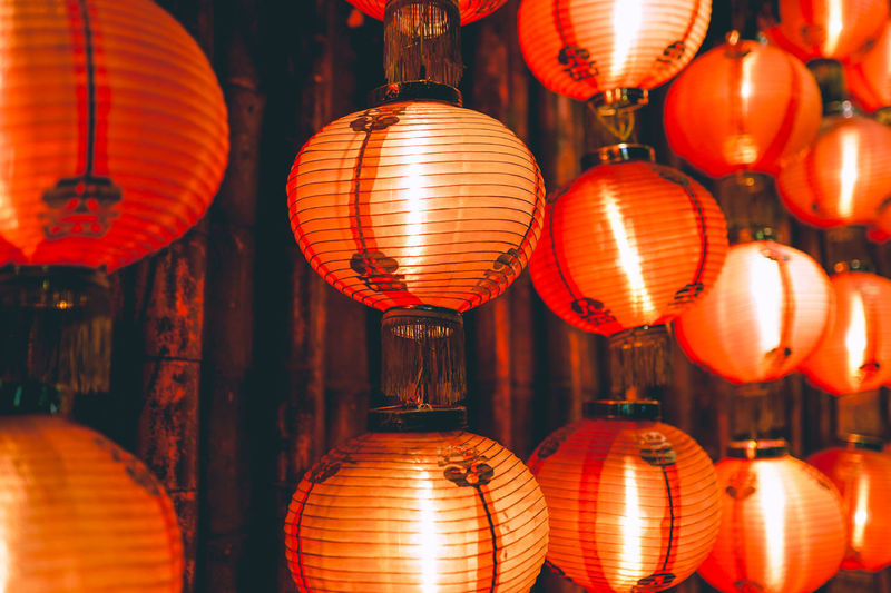 Full frame shot of illuminated lanterns hanging for sale at market