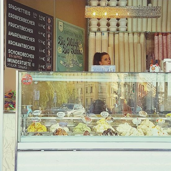 Ice Cream Summertime Summerinberlin Food And Drink One Person Window One Woman Only City Day Store Business Sweet Food Summerinthecity