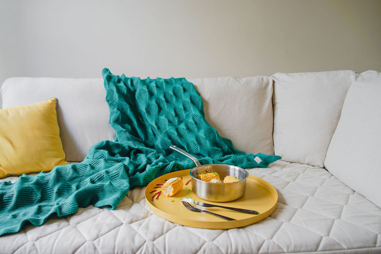 Furniture Indoors  Pillow Textile Still Life Food And Drink No People Food Bed Table Sofa Cushion Absence Yellow Relaxation Drink Cup Blanket Home Interior Green Color Crockery Breakfast Tray The Foodie - 2019 EyeEm Awards