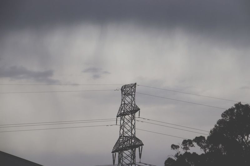 Rain storm clouds Sky Cloud - Sky Low Angle View Technology Connection Electricity  Tree Nature Tower Electricity Pylon