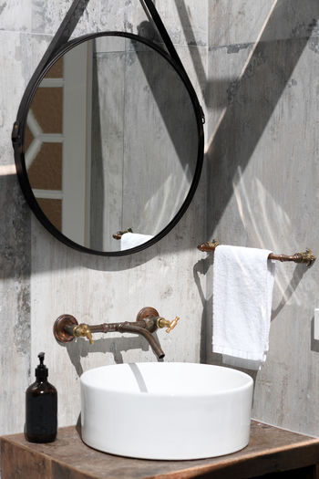 Retro bathroom Architecture Bathroom Bathroom Sink Built Structure Day Domestic Bathroom Domestic Room Faucet Glass - Material Home Household Equipment Hygiene Indoors  Mirror Nature No People Purity Reflection Sink Towel Wall - Building Feature