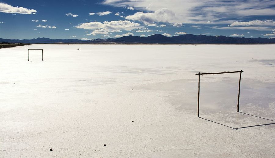 Goal post on snow covered ground