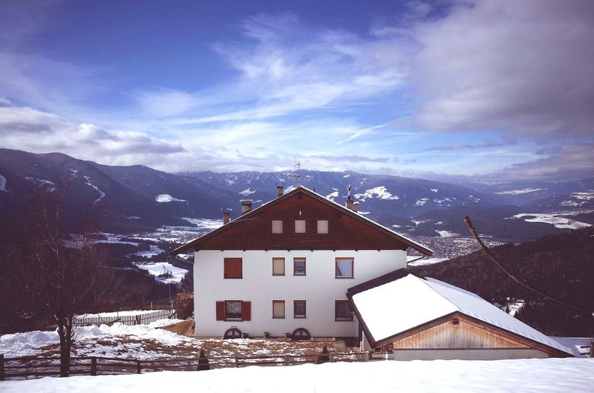 Snow Winter Cold Temperature Architecture Landscape No People Cloud - Sky Night Mountain Scenics Sky Outdoors Dolomites, Italy Season  Wintertime Snowfall Snow ❄ Winter Travel Nature On The Road Miles Away Weather Remote Location
