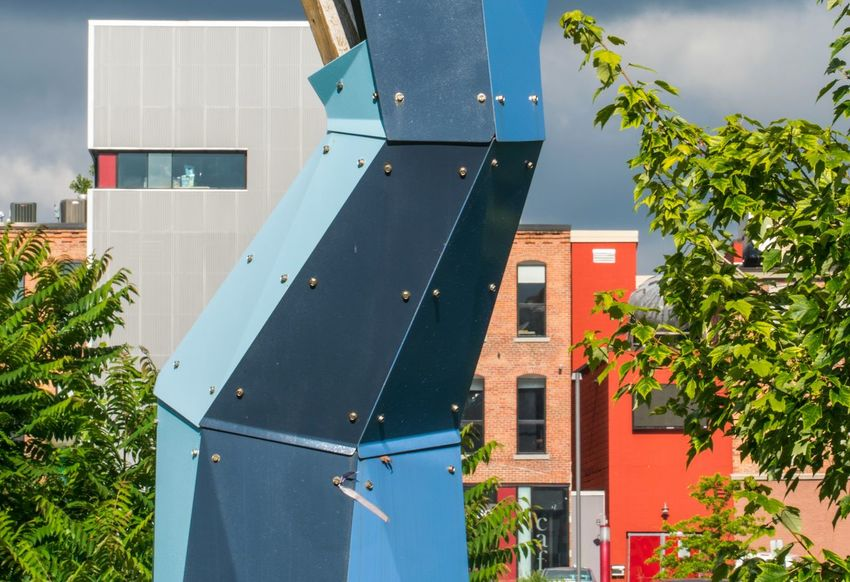 Architecture Building Exterior Built Structure Day Outdoors No People Roof City Sky Syracuse Ny Sculpture Metal Brick Tree Urban Public Art Geometric Armory Square