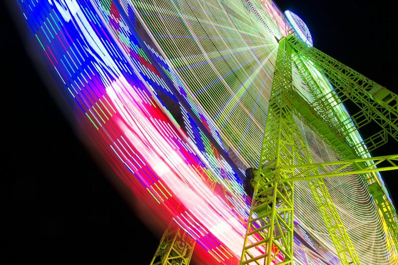 Night Multi Colored Low Angle View Illuminated Black Background Long Exposure Diversion People And Places Alicante Atraction Park Noria, Feria Noria Turning Park - Man Made Space Fun Amusement Park Ride Arts Culture And Entertainment City Light In The Darkness Ferris Wheel Circle Nightlife Freshness Alicante, Spain Low Angle View