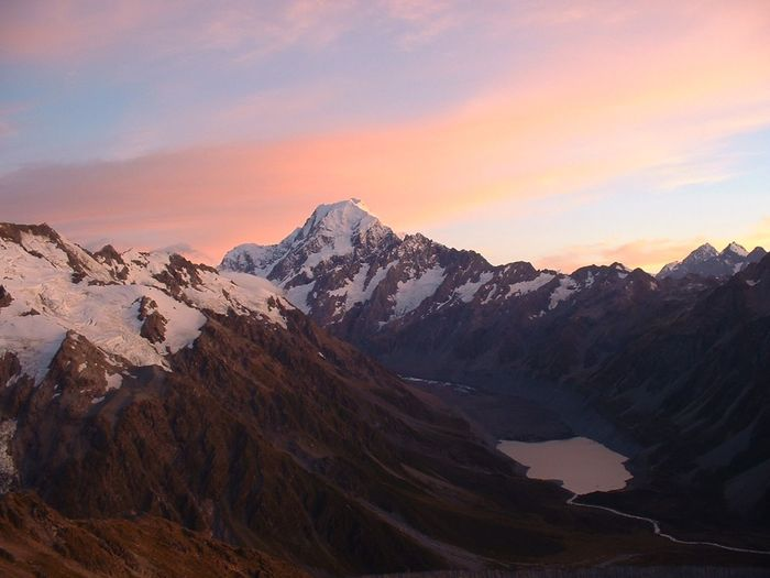 Scenic view of mt cook against sky during winter