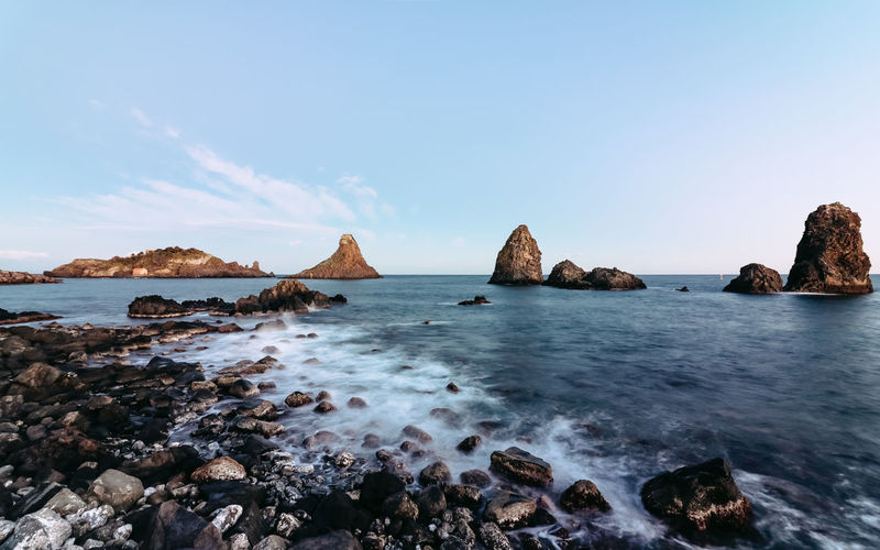 Acitrezza, Faraglioni, 2016 Acitrezza  Faraglioni Polyphemus Sea Stack Sicily Stack Summer Views The Week On EyeEm Ulysses Horizon Horizon Over Water Polifemo Rocks And Water Sea Sea View Seascape Seaside Sky And Sea Tranquility Tranquil Scene Outdoors Scenic View