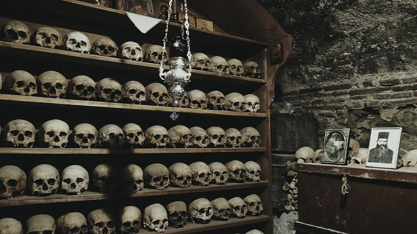 Catacombs Skulls In Rank And File Grave Lying In State Saint Photo Monastery Incenseholder Religious Cult Mission monastery 9 Meteora greece
