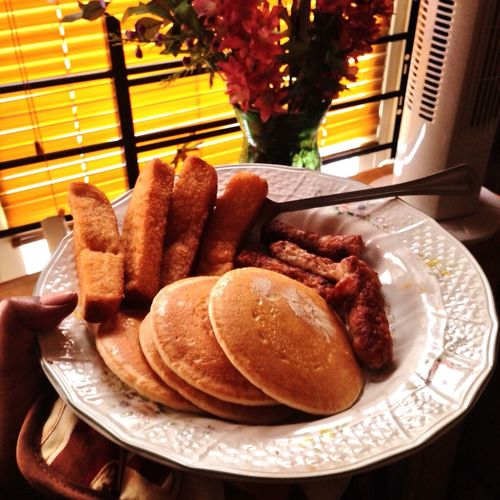 Breakfast Frenchtoaststicks Pancakes Minis Sausages Plate Yummy♡ Delicious ♡ Hungry! Taste Good