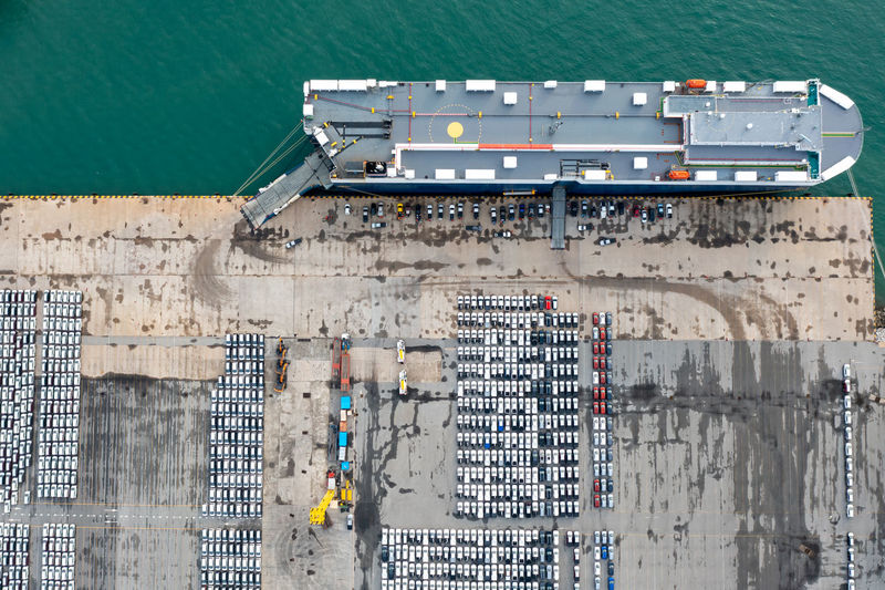 top view large roro  roll on off carrier vessels convey new line cars