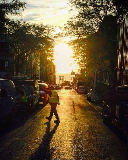 Outdoors New York City Light Bridge City Incidental People Street Sunrise