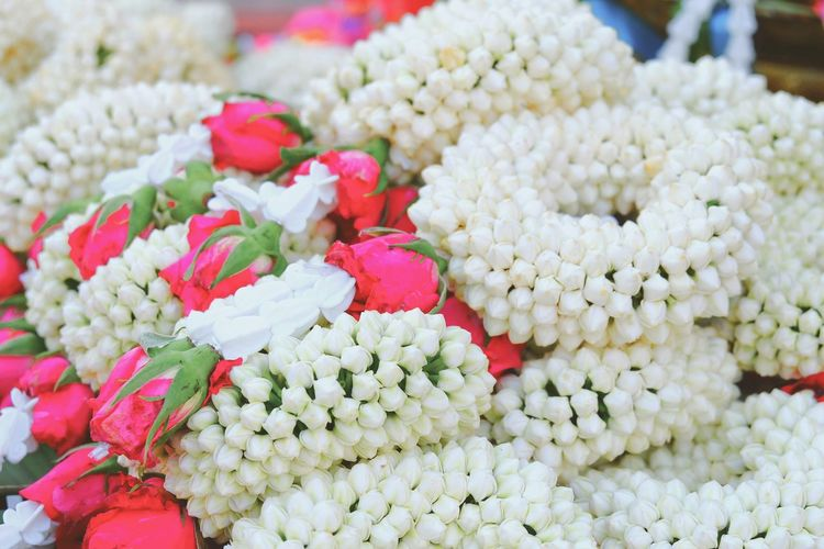 High Angle View Of White Flower Garland