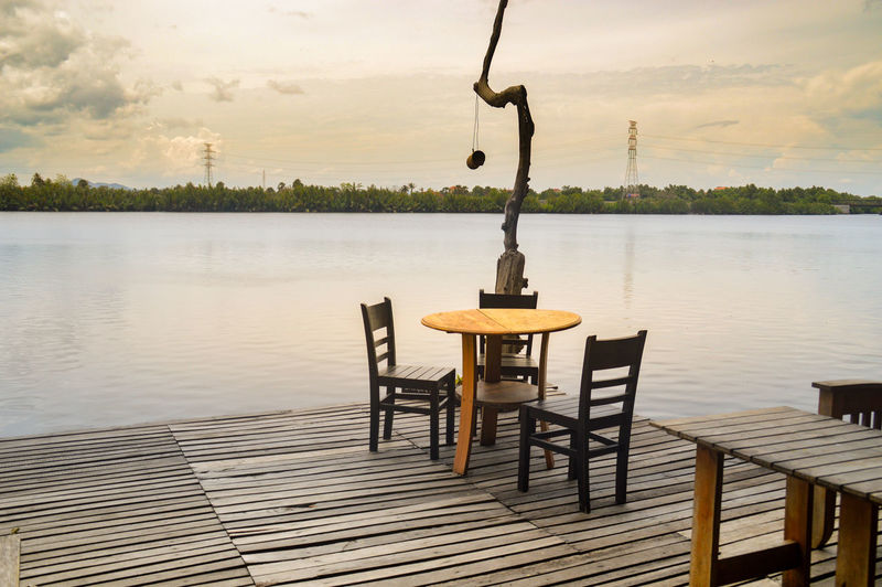 EyeEm Selects Riverview River Side Restaurant Resort Table Setting Cafe On River Side Table Chair Sky Water Outdoors No People Lifestyle Kampot, Cambodia Tranquility Travel Sommergefühle Sunlight Leisure Activity Relaxing Summer Summertime Vacation Holiday