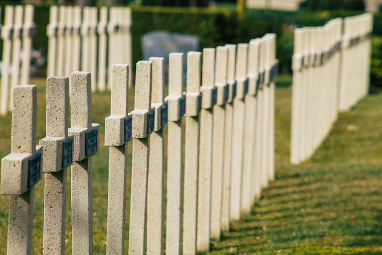 Row of fence at cemetery