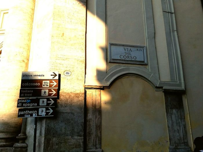 Architecture Building Exterior No People Outdoors Day Text Close-up Built Structure Roma Rome Travel Destinations Streetphotography Street Street Sign Street Signs Sign Signs Wall Sunlight Sunlight And Shadow Sunlight On The Wall