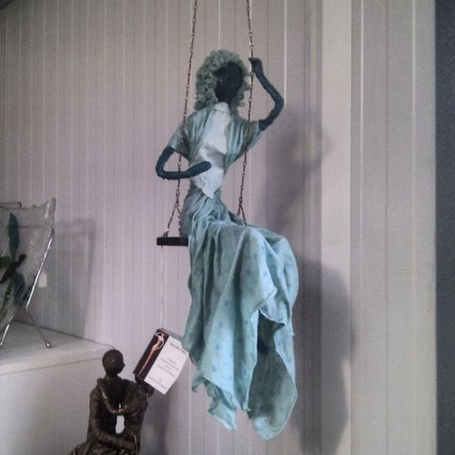 @avantgardencentre Leyland Figurine  Art Craft lady swing sculpture