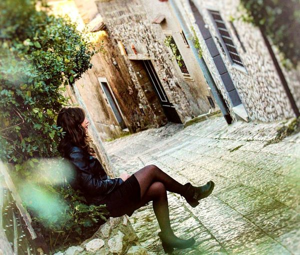 Fashion One Person Full Length Women Tree Outdoors Relaxation Building Exterior Adult People Leisure Activity Day Adults Only Young Adult Architecture Only Women photography Archival Dating Beauty In Nature Landscape City Nightlife Sky Only Men Black Background Cityscape
