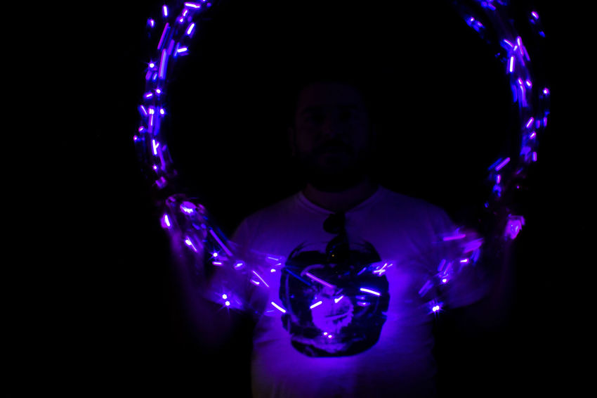🙈🙉🙊 EyeEm Best Shots EyeEm Gallery HUAWEI Photo Award: After Dark Eye4photography  Front View Glowing Hulahoop Illuminated Lighting Equipment One Person Portrait Purple
