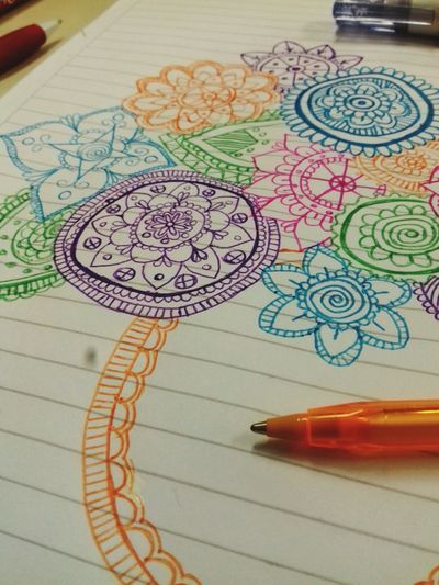 Art And Craft Indoors  Multi Colored No People Education Paper Close-up Sketch Pad Day Mandala Art
