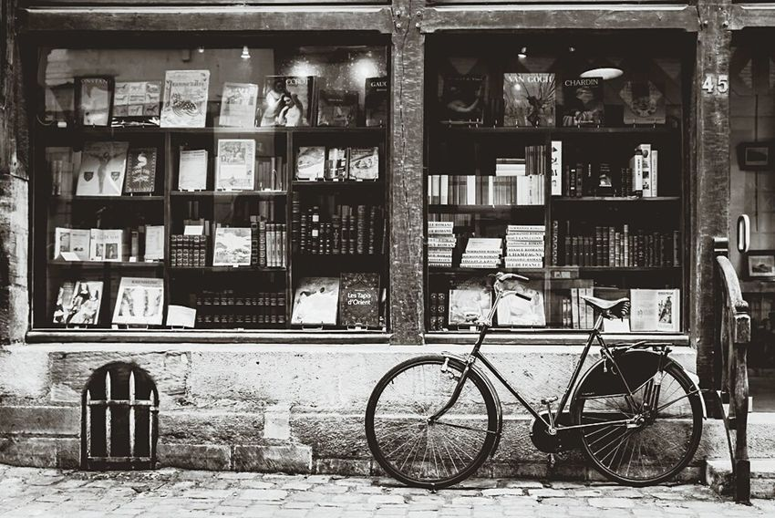 Like in a old French movie Bicycle No People Mode Of Transport Bookshelf Bookstore Storefront France🇫🇷 Loire Valley Chinon