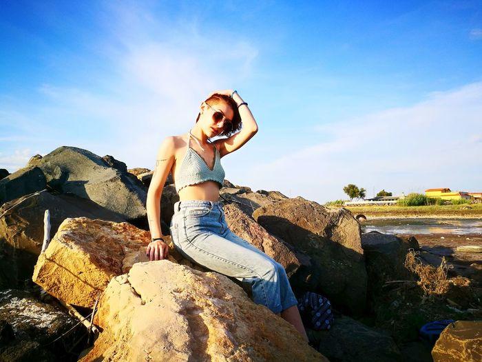 Girl Young Women Redhead Ginger Woman Sea Beach Redhair Body & Fitness Sky The Fashion Photographer - 2018 EyeEm Awards Young Women Sand Dune Women Sand Standing Summer Adventure Portrait Full Length Females Posing Mini Dress Fashion Model Artist's Model Dress