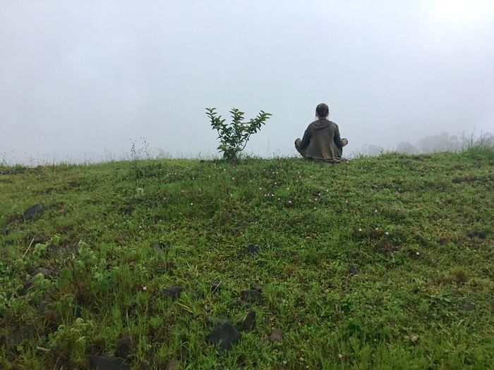 Meditation Travel Wanderlust Relaxing Moments Plant Field Land Rear View Growth Green Color Nature Day One Person Real People Sky Fog Landscape Beauty In Nature Leisure Activity Grass Outdoors Environment Lifestyles