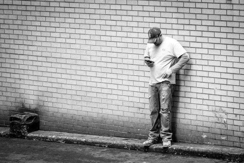 I love you too Blackandwhite Brick Wall Conversation Man Mobile Outdoors People Streetphotography