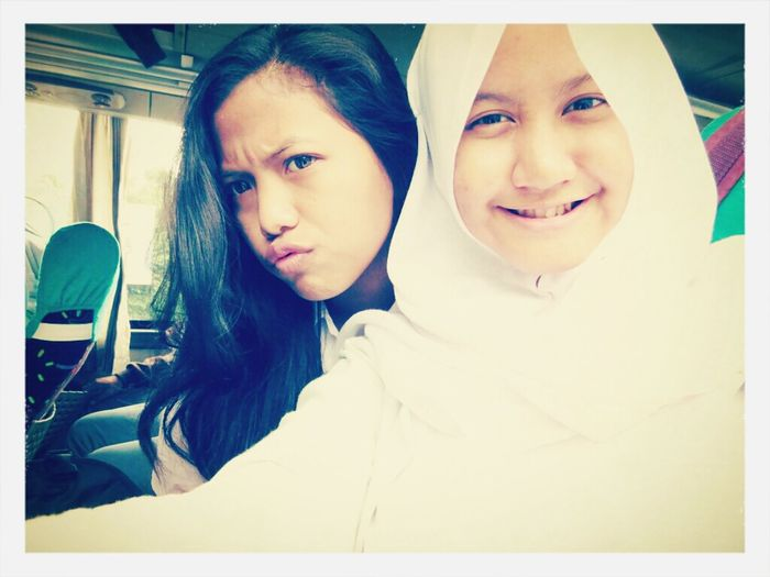 In bus. With Venny Lestari Adiyanty