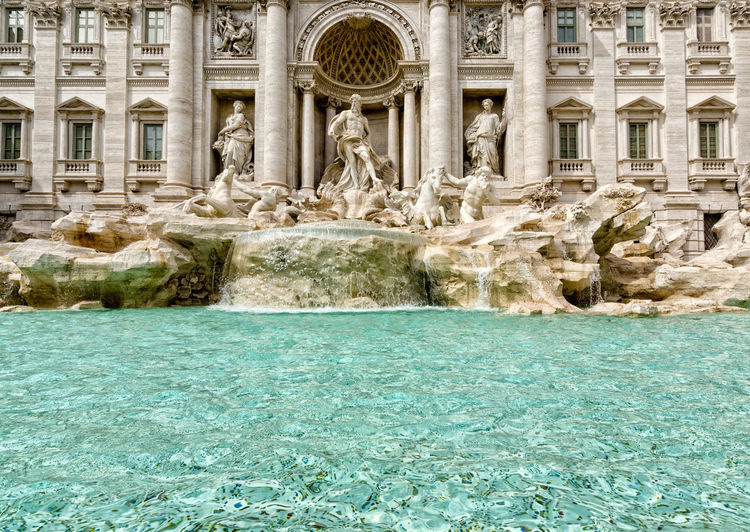 Fontana Di Trevi Architecture Water Built Structure Travel Destinations Building Exterior The Past History Architectural Column Nature Sculpture Day Travel Tourism Fountain No People Art And Craft Solid Statue City Outdoors Flowing Water Turquoise Colored Government Luxury