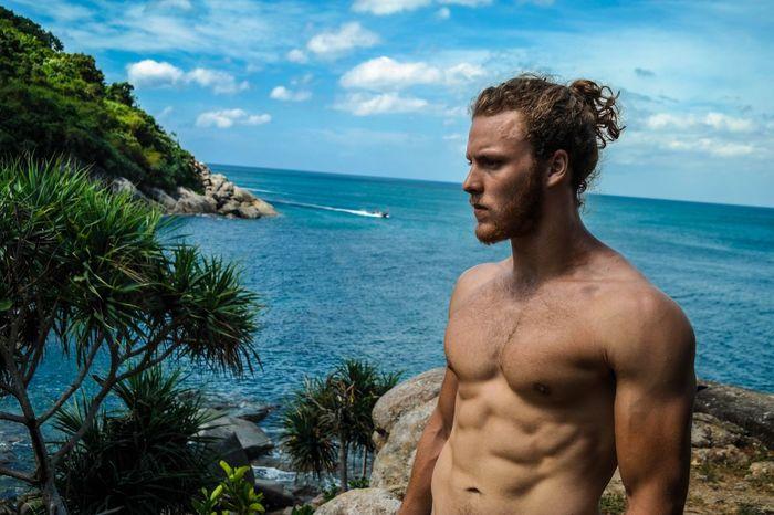 Men Manbun Long Hair Fitness Ripped Sky Cloud Sea Training Muscles Thailand Phuket Beach Nature Nature Photography