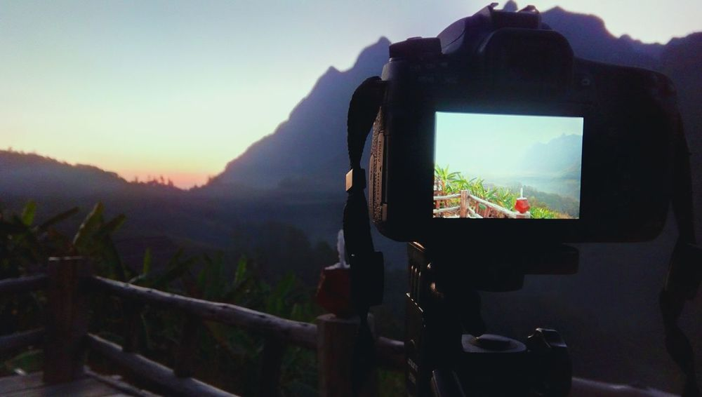 Wireless Technology Technology Photography Themes Fog Mountain Sunset Digital Viewfinder Landscape Nature Sky Close-up Camera - Photographic Equipment Portable Information Device Device Screen CameraMan