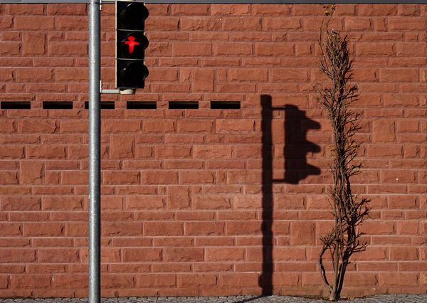 Abstract Reality Bricks In The Wall City City Geometry Light And Shadow Red Bricks Symetry Wall