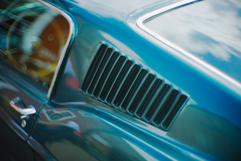Classic Car Mustang Retro Car Close-up Day England Land Vehicle Muscle Car No People Outdoors Reflections Vents Vintage