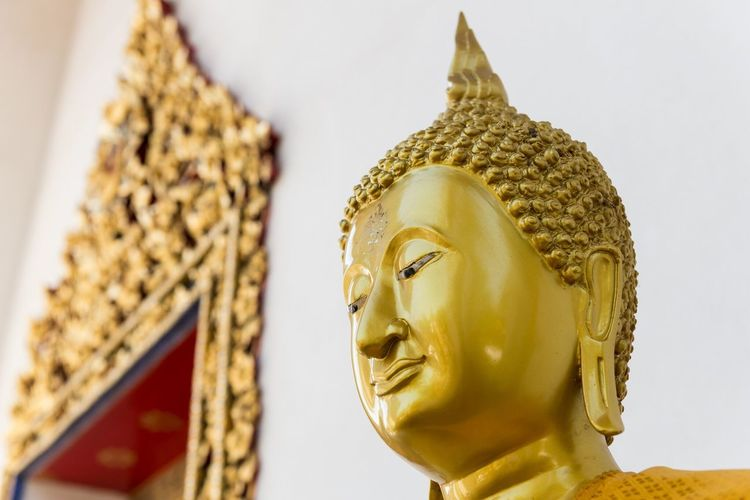 Thialand Bangkok Buddha Gold Statue Worship Smilingbuddha