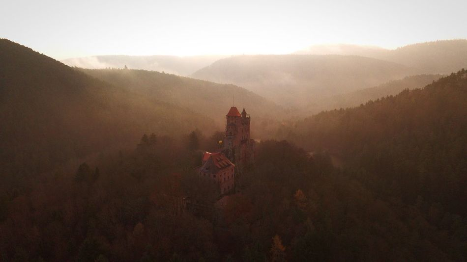 Palatinate Forest. Dji Aerial View Architecture History Travel Destinations Mountain Built Structure Fog Beauty In Nature Day Outdoors Landscape Mountain Range No People Building Exterior Nature High Angle View The Great Outdoors - 2018 EyeEm Awards