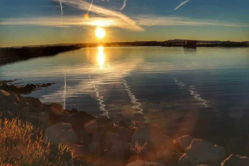 Water Reflection Tranquil Scene Tranquility Sky Calm Sea Morning Sun Njarðvik Iceland Iceland_collection