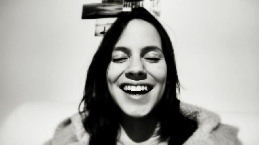 Blackandwhite Smile Laughing Beautiful Life Happiness Happy People Light Teeths Teethshowingsmile Black And White Portrait Portrait Woman Face Laugh Closed Eyes Eyes Closed  Smiling Eyes