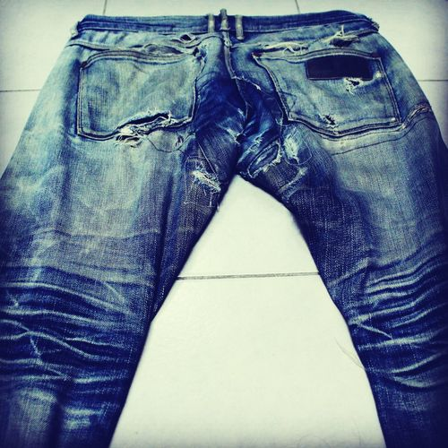 The true nature of a raw denim Jeansgasm Denimjeans Rawdenim April77 Faded Ripped Jeans Raw Nakedtruth  Hardwork First Eyeem Photo