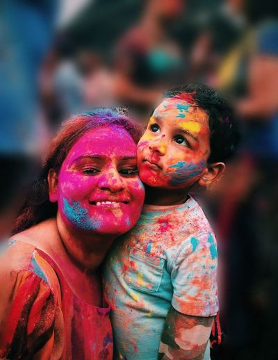 Boys Childhood Color Portrait Cute Elementary Age Focus On Foreground Front View Fun Happiness Headshot Holi Innocence Leisure Activity Lifestyles Looking At Camera Love Mouth Open Person Portrait Smiling Togetherness
