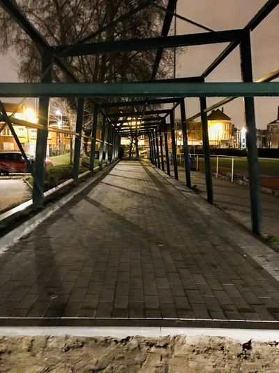 Empty footpath in city