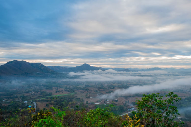 View of the mountain peak in Loei, Thailand. Cloud - Sky Scenics - Nature Sky Beauty In Nature Mountain Tranquil Scene Tranquility Environment Tree Landscape Plant Nature Mountain Range No People Fog Non-urban Scene Day Outdoors Idyllic Thailand