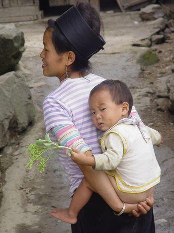 Vietnam Ethnic Woman Baby Piggyback Headwrap  Headwear Up Close Street Photography