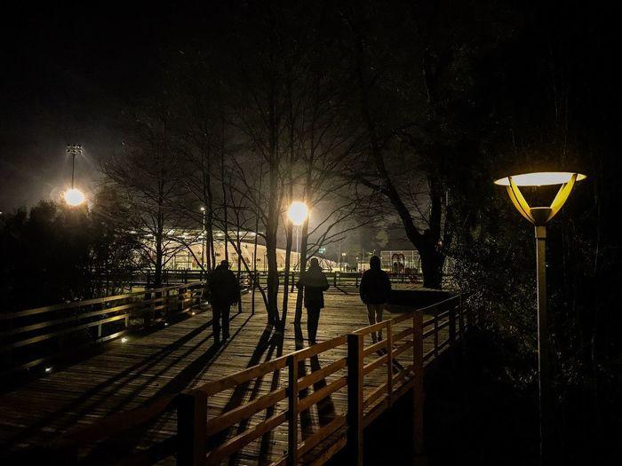 Silhouette people on illuminated street light against sky at night