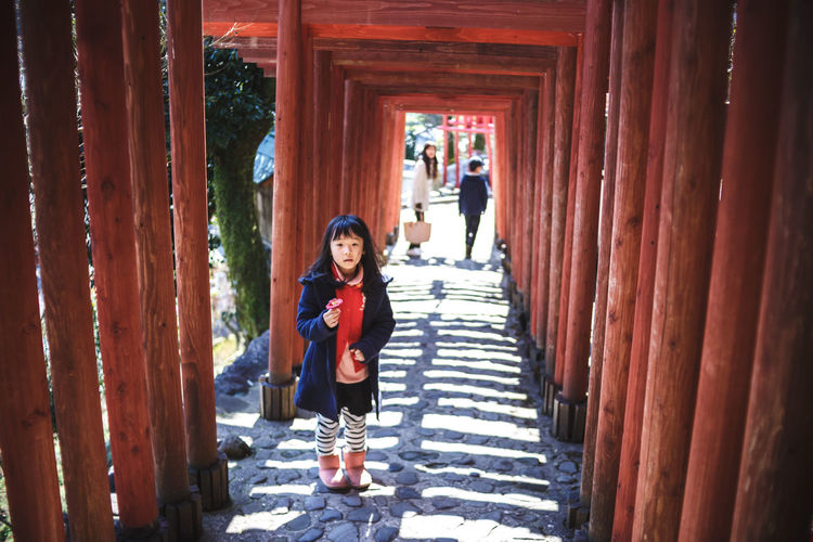 Japanese Torii in Shinto shrine Japan Japan Photography Japanese  Japanese Culture LINE Portrait Of A Woman Shinto Shrine TORII Torii Gate Casual Clothing Front View Full Length Girl Looking At Camera One Person People Portrait Real People Shinto Shintoism Standing