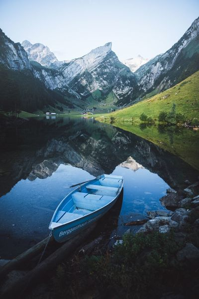Morning rides. Switzerland Water Scenics - Nature Tranquility Lake Mountain Sky Beauty In Nature Tranquil Scene Nature Reflection Day Non-urban Scene Plant No People Tree Mountain Range Nautical Vessel Idyllic Transportation Outdoors