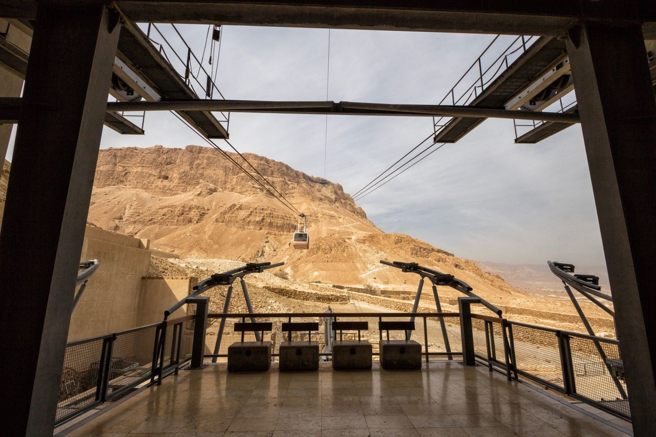 Israel Masada Massada Cableway Architecture Built Structure Sky Nature No People Low Angle View Day Outdoors Travel Destinations Travel Ceiling