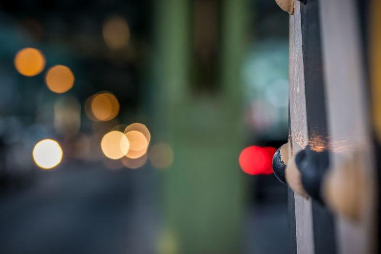 Defocused image of illuminated street